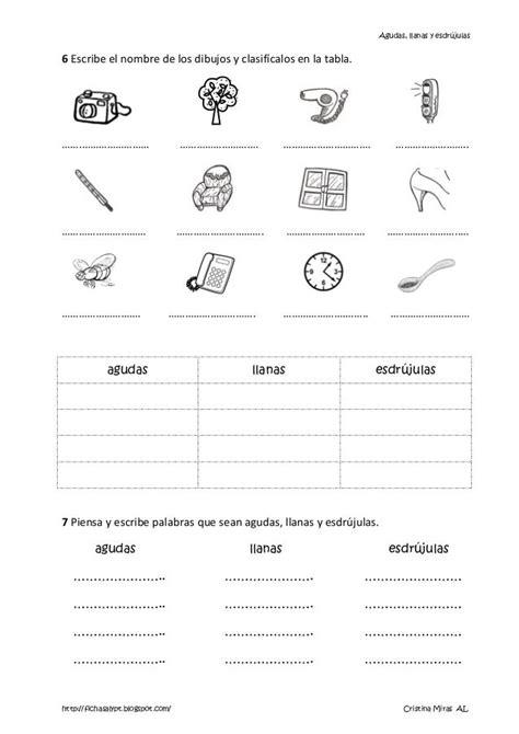 1. palabras agudas llanas y esdrujulas | Actividades edu ...