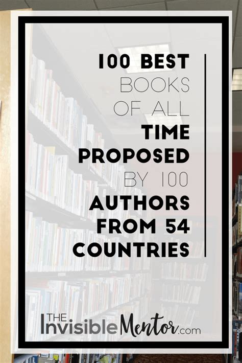 100 Best Books of All Time Proposed by 100 Authors from 54 ...
