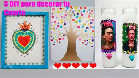 3 MANUALIDADES FACILES PARA DECORAR TU CUARTO   YouTube
