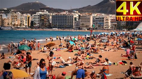 4K Playa de Las Canteras, Las Palmas de Gran Canaria 2017 ...