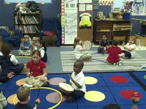 A music class activity with a  double kindergarten  class ...