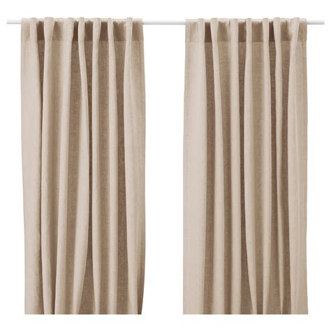 AINA Curtains, 1 pair Beige 145x250 cm   IKEA