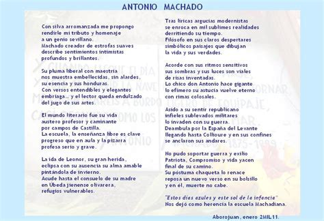 Antonio Machado. Poema de dedicado a Antonio Machado, por ...