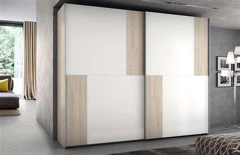 Armario 2 puertas correderas nature blanco   Muebles Boom