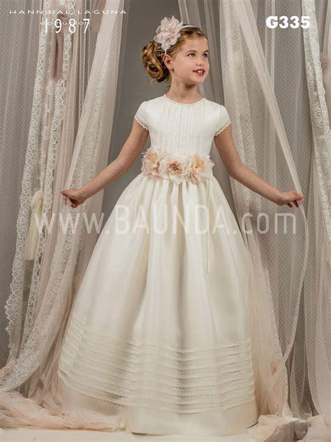 Baunda Vestido de comunión con fajín de flores HANNIBAL ...