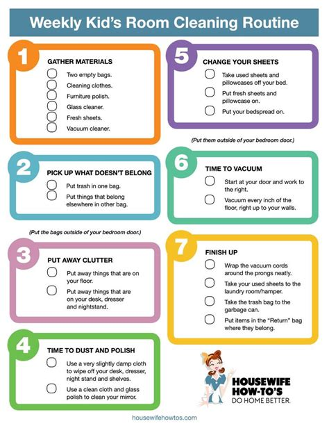 Bedroom cleaning checklist for kids  photos and video ...