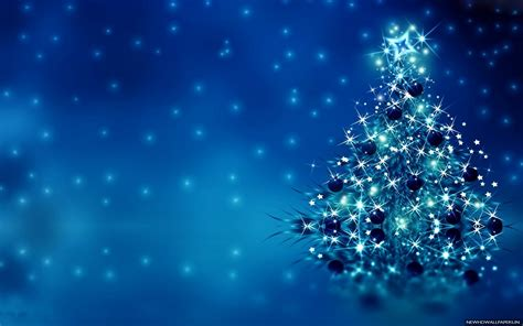 Blue Merry Christmas Tree HD Photo Free Wallpapers   New ...