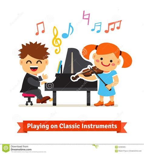 Boy And Girl Playing Music On Piano, Violin Stock Vector ...