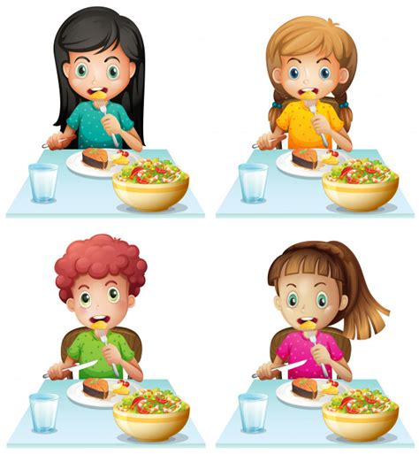 Boy and girls eating at the dining table Vector | Free ...