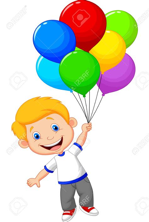 Boy Holding Balloons Clipart  75+