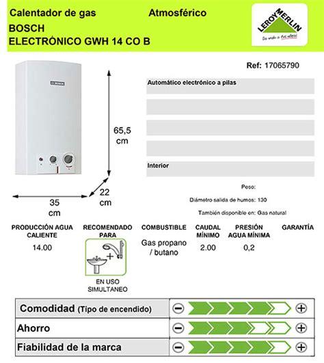 Calentador de gas butano Bosch 14L B31 Ref. 17065790 ...
