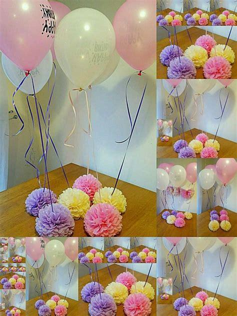 Centro de mesa con pompón de papel y globo | Manualidades ...