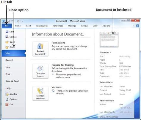 Closing a Document in Word 2010