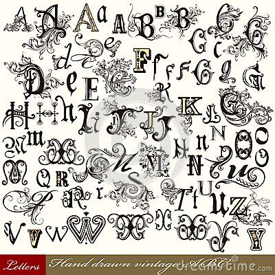 Collection Of Vector English ABC In Vintage Style With ...