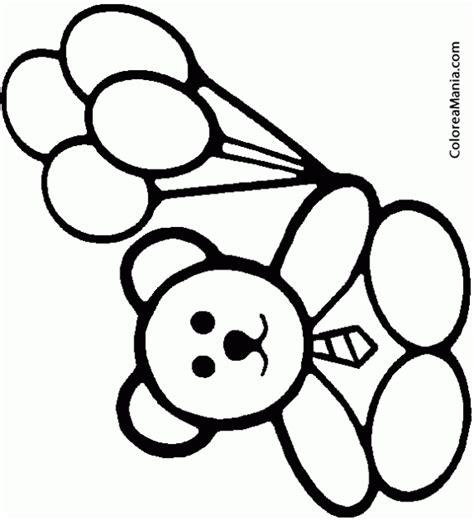 Colorear Osito con cuatro globos  Peluches , dibujo para ...