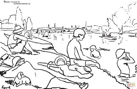 Coloriage   Une baignade à Asnières par Georges Seurat ...