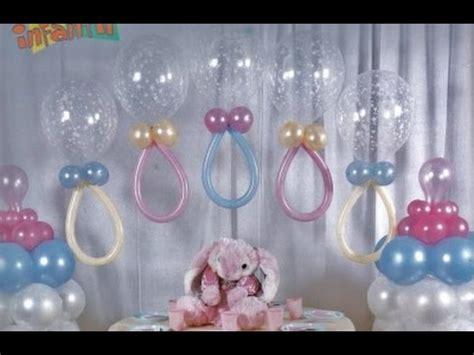 como hacer adornos con globos para baby shower   YouTube