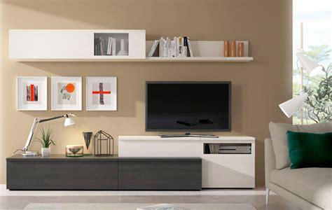 Composición de muebles de salón moderno en polar y antracita