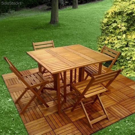 Conjunto de jardin madera merantil, plegable 1 Mesa + 4 ...