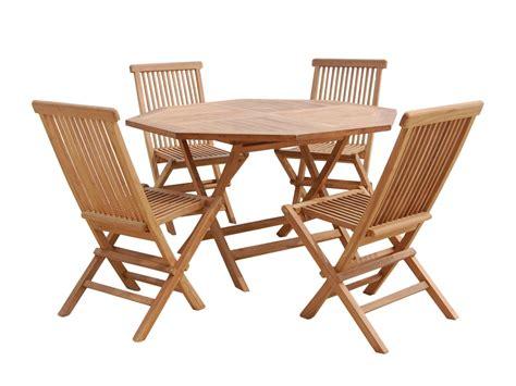 Conjunto de mesa y 4 sillas de terraza de madera de teca