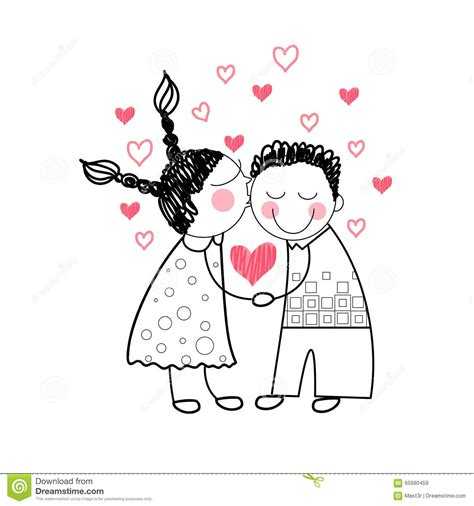 Couple Red Heart Shape Love Holding Hands Drawing Simple ...