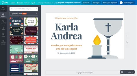 Crea etiquetas para primera comunión online gratis   Canva