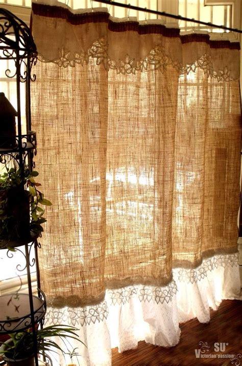Custom French SHABBY Rustic Chic Burlap SHOWER Curtain ...