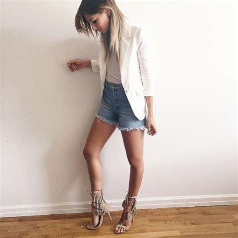 Danielle Bernstein in KIJA  Nude Oyster  fringe heels by ...