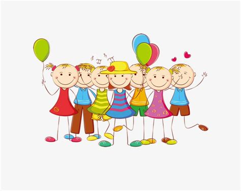 De Dibujos Animados De Colores Lineas Simples De Niños Con ...
