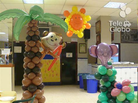 Decoración con globos para cumpleaños con temática selva ...