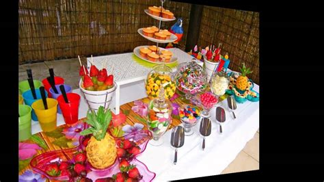 Decoración fiesta hawaiana   Decoration of hawaiian party ...