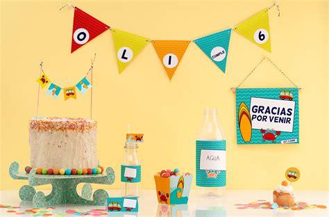 decoracion imprimible de fiesta surf cumpleaños infantil ...