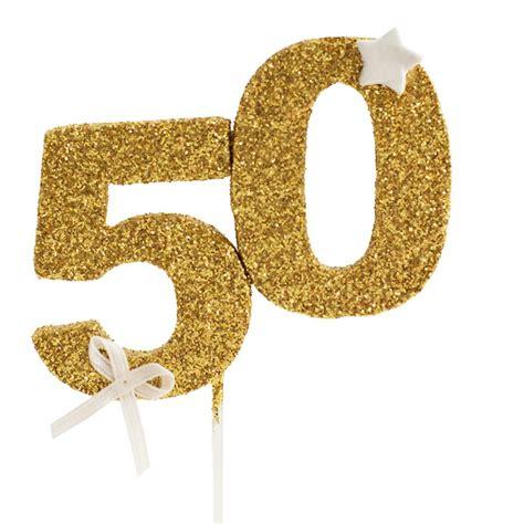 Decoración para tarta 50 años en color dorado | My Karamelli