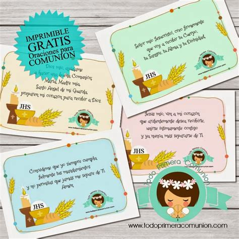 Descarga gratis 12 oraciones imprimibles para Comunión ...