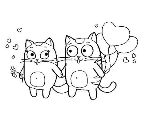 Dibujo de Amor gatuno para Colorear   Dibujos.net