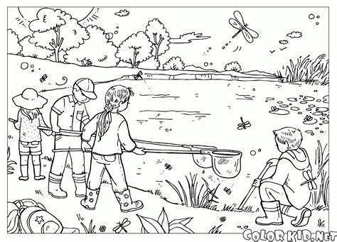 Dibujo para colorear   Niños en el lago