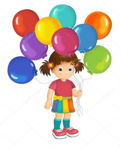 Dibujos animados de niño con globos — Foto de stock ...
