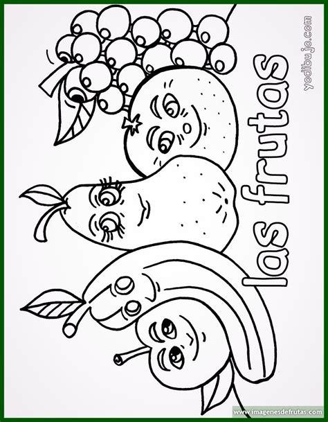 Dibujos para colorear de frutas con caritas felices ...