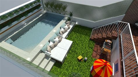 Diseño de Jardin con Piscina de 5x2,5 | Ideas ...