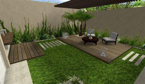 diseño de jardin hermoso con deck y pergola y plantas ...