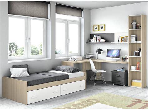 Dormitorio juvenil pizarra/blanco/roble