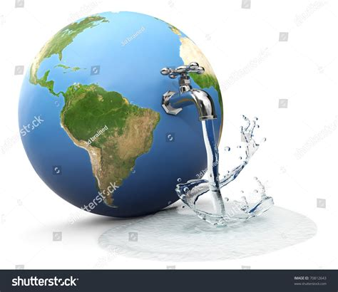 Earth Globe With Water Tap Dropping Water Stock Photo ...