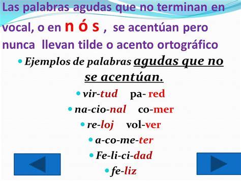 Ejemplos De Palabras Agudas Tilde | ejemplos de palabras ...
