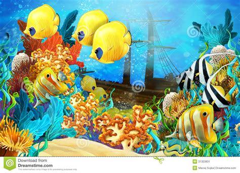 El Arrecife De Coral   Ejemplo Para Los Niños Stock de ...
