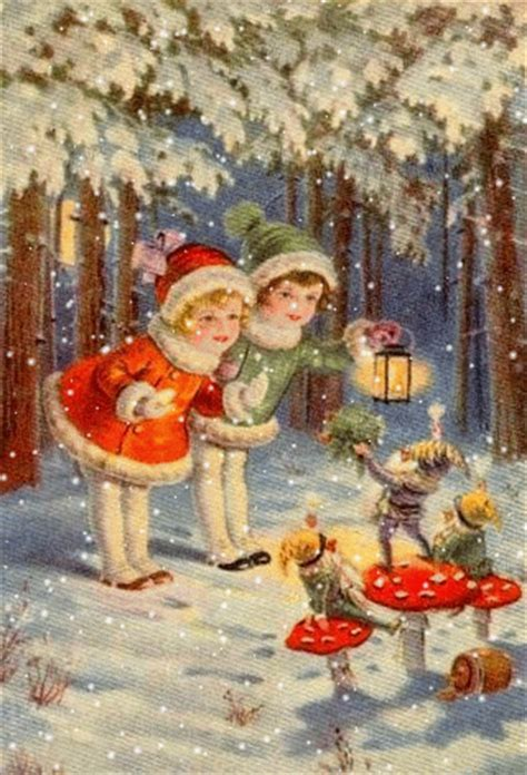 Elfen & Boeken   Oude Kerstkaarten 3