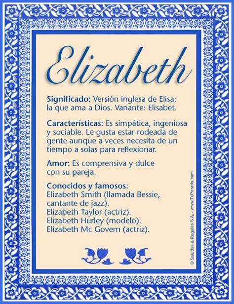 Elizabeth, significado del nombre Elizabeth, nombres