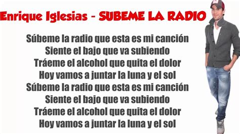 ENRIQUE IGLESIAS   SUBEME LA RADIO  LYRICS    YouTube