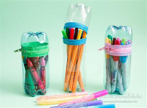 Estuches con botellas plásticas   Guía de MANUALIDADES