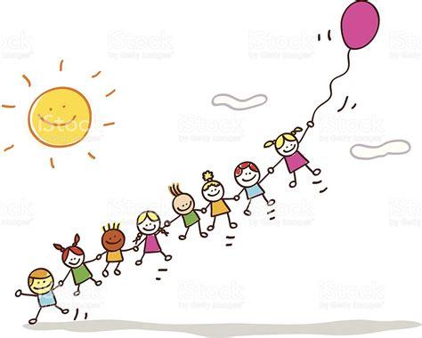 Feliz Verano Niños Volando Con Un Globo Ilustración Dibujo ...