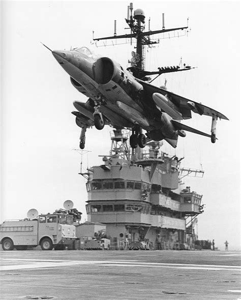 File:AV 8A of VMA 513 hovering over USS Guam  LPH 9  1972 ...